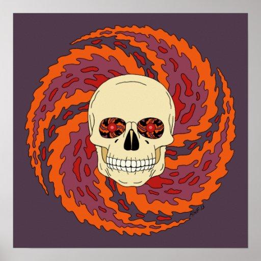 Poster psicadélico do crânio