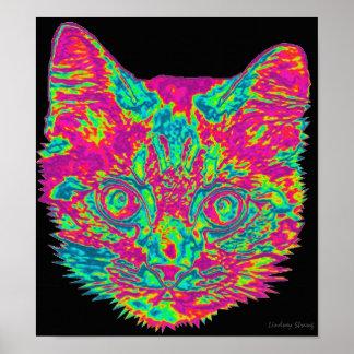 Poster psicadélico do gato