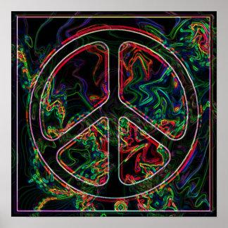 poster psicadélico do sinal de paz