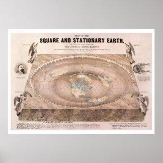 """Pôster """"Quadrado e"""" mapa liso estacionário da terra"""