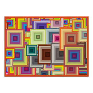 Poster Quadrados geométricos coloridos com quadro