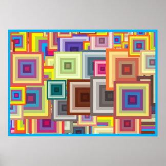 Poster Quadrados geométricos coloridos com quadro azul