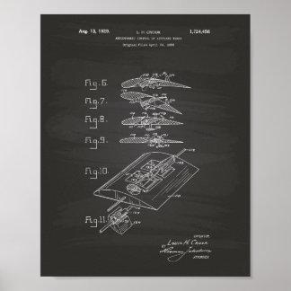 Pôster Quadro da arte da patente da asa 1929 do avião