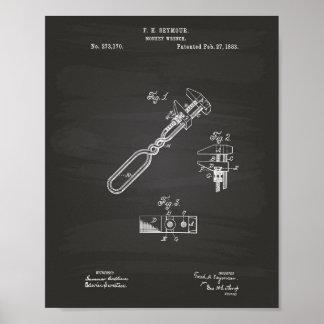 Pôster Quadro da arte da patente da chave de macaco 1883