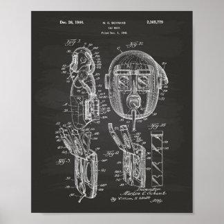 Poster Quadro da arte da patente da máscara de gás 1944