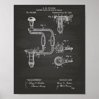 Poster Quadro da arte da patente das brocas 1893
