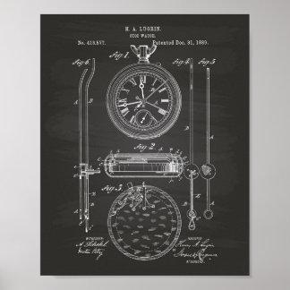 Pôster Quadro da arte da patente do cronômetro 1889