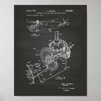 Pôster Quadro da arte da patente do motor de aviões 1953