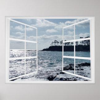 Pôster Quadro de janela com costa e palmeiras do oceano
