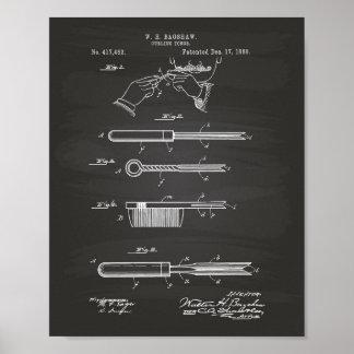 Poster Quadro de ondulação da arte da patente dos Tongs