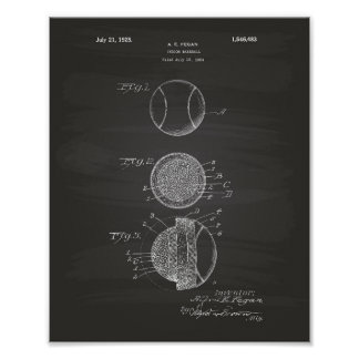 Poster Quadro interno da arte da patente do basebol 1925