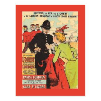 Poster railway francês do vintage, Paris a Londres Cartão Postal