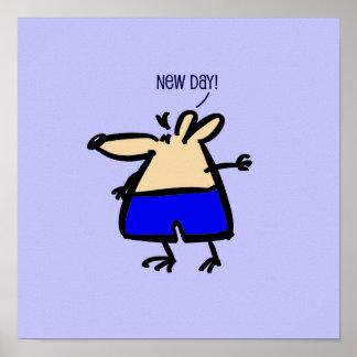 Pôster Rato novo dos desenhos animados do dia no azul em