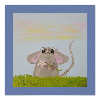 Pôster Rato pequeno bonito com flor