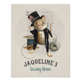 Poster Rato Sewing do Victorian louco bonito do Hatter