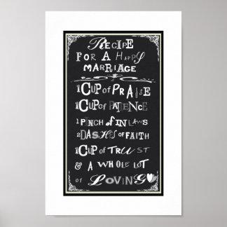 Poster Receita para um presente de casamento ideal do