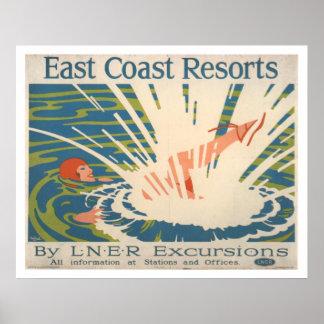 Pôster Recursos de costa leste do vintage que nadam o