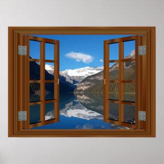 Pôster Reflexão da janela do falso do lago mountain de