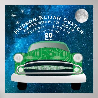 Poster Registro retro verde do nascimento do Stat do
