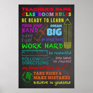 Pôster Regras da sala de aula - o presente do professor