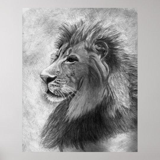 Poster Rei da selva, leão tirado mão na grafite