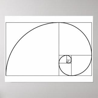 Pôster Relação dourada espiral de Fibonacci