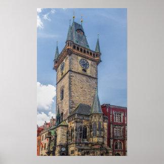 Poster República checa de Praga da câmara municipal velha