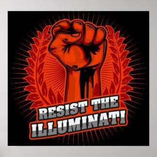 Poster Resista o punho aumentado laranja de Illuminati