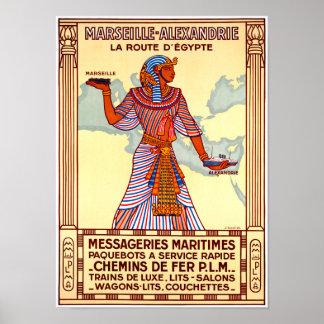 Poster restaurado Egipto das viagens vintage de