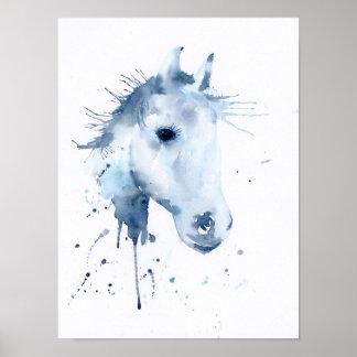 Poster Retrato abstrato do cavalo da aguarela