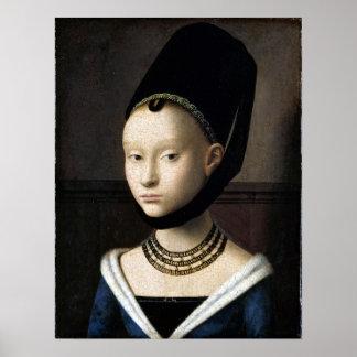 Pôster Retrato de Petrus Christus de uma jovem mulher