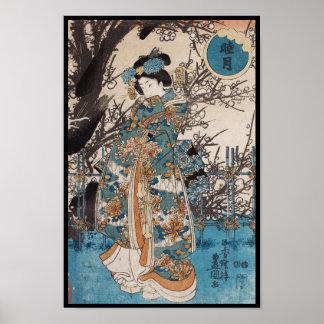Poster Retrato japonês da gueixa do ukiyo-e clássico do