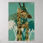Poster retro da arte dos girafas azuis tropicais d