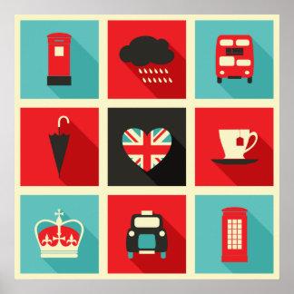 Poster retro da colagem de Londres Pôster