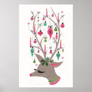Poster retro da rena do Natal do vintage