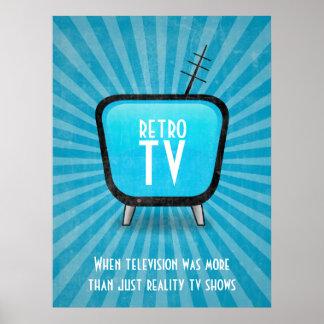 Poster retro da televisão da tevê do vintage pôster