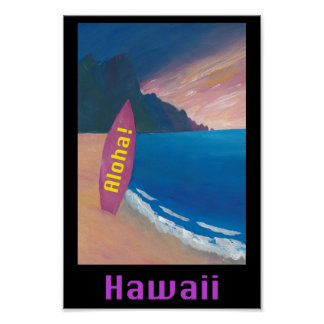 Poster retro de Havaí Aloha