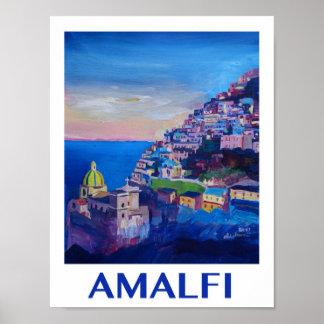 Poster retro de Italia da costa de Amalfi