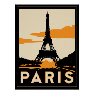 poster retro do art deco de Paris Pôster
