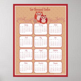Poster retro do calendário das corujas 2012