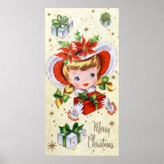 Poster retro do feriado da menina do natal vintage