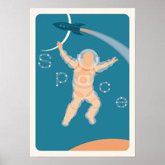 Poster retro do impressão da arte do espaço