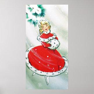 Poster retro do Natal da menina do vintage