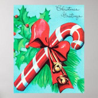 Poster retro do Natal do bastão de doces do