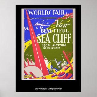 Poster retro do penhasco do mar do vintage