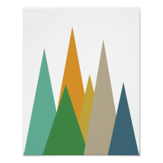 Poster retro moderno do meio século das montanhas