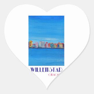 Poster retro Willemstad Curaçau Adesivo Coração