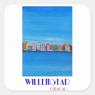 Poster retro Willemstad Curaçau Adesivo Quadrado