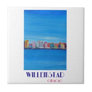 Poster retro Willemstad Curaçau Azulejo Quadrado Pequeno