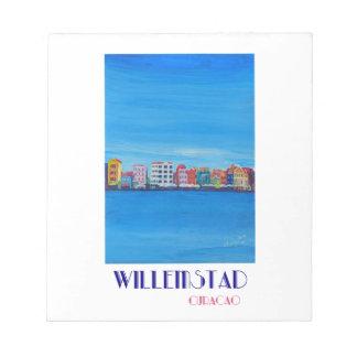 Poster retro Willemstad Curaçau Bloco De Anotação